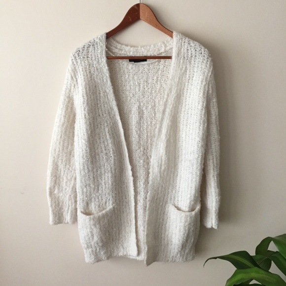 52% off Atmosphere Sweaters - Atmosphere • Fluffy White Cardigan ...
