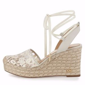 MICHAEL KORS  WEDGE LACE MK LOGO SANDAL SHOES