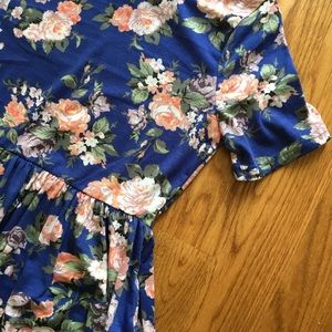 Journey Five Dresses - NEW Blue Floral Dress with Short Sleeves