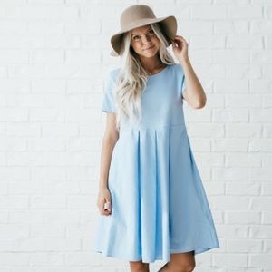 NEW Blue Pleated Dress