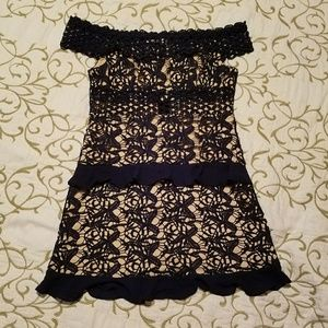 Romeo & Juliet Couture navy and tan lace dress