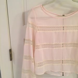 Tops - 🦋 Cream Top with Lace Stripes • Small