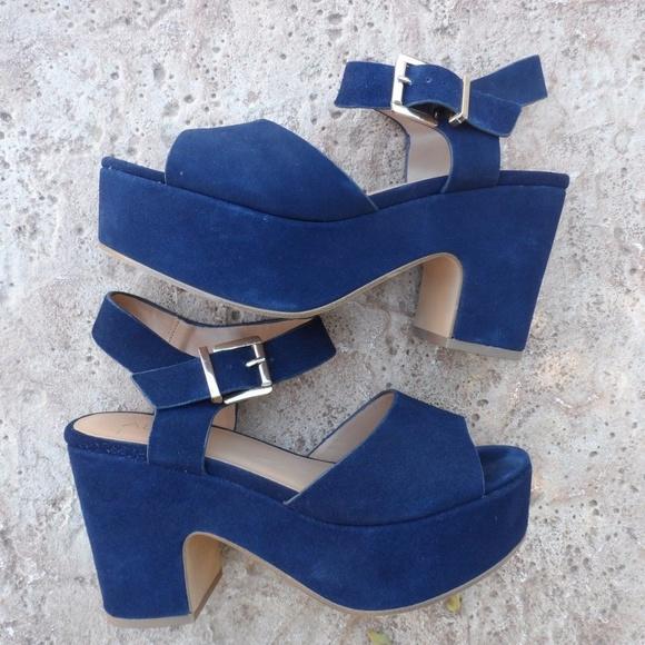 b44bd49af1d Aldo Shoes - ALDO Rockabilly Blue Suede Peep Toe Platforms 7.5