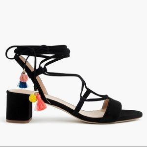 NWT J.Crew Suede Lace-Up Sandals in Black