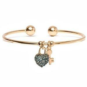 Blue & Gold Heart Key Charm Cuff With Swarovski®