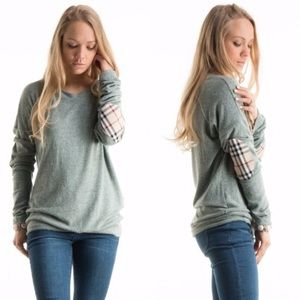 Tops - Plaid Elbow Patch Brushed Knit Tunic