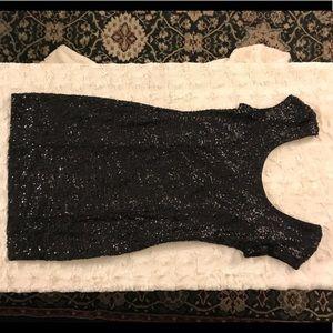 Black, cap sleeve, sequin cocktail dress