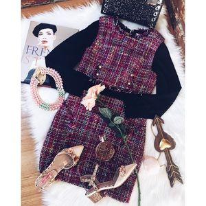 Dresses & Skirts - Tweed Multi Print Long Sleeve Wiggle Dress SM