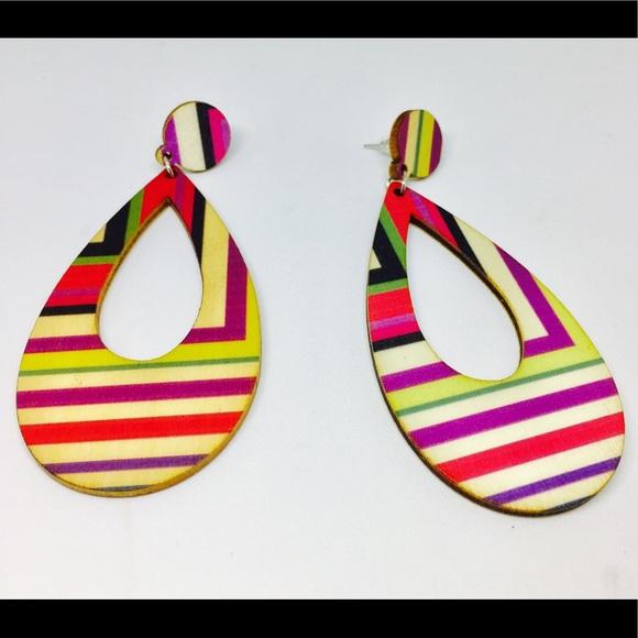 Jewelry - Colorful Striped Teardrop Stud Earrings