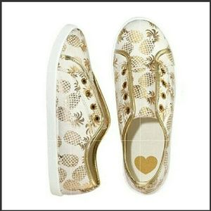 Shoes - Metallic Gold Tropical Pineapple Slip-on Sneakers
