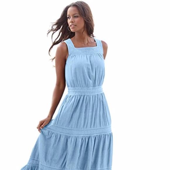 Roaman\'s 24/7 Womens Plus Size Tiered Lace Dress - Boutique