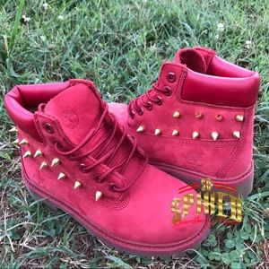 Youth 13 red timberlands gold spikes
