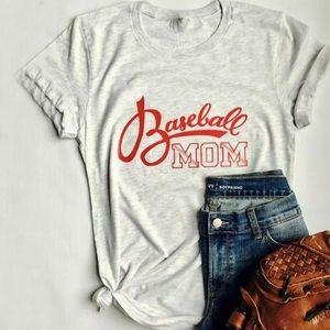 Baseball Mom Light Gray Scoopneck Graphic T Shirt