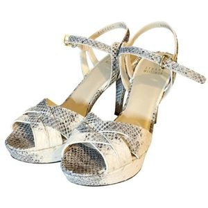 Shoes - Stuart Weitzman genuine snakeskin peep toe heels
