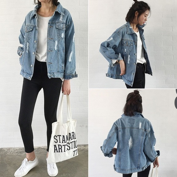 outlet store new style of 2019 wide selection of colors 🎉Cutest oversized ripped denim jacket🎉 Boutique