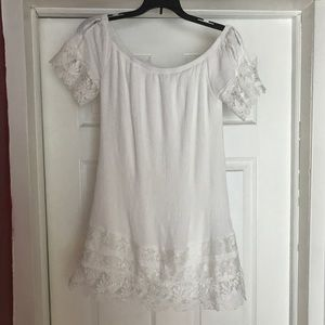 Off the shoulder dress with floral lace