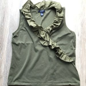 Gorgeous Olive Green Ruffle blouse