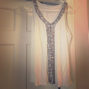 A.N.A White tank with Sequin collar Size Large