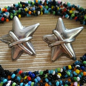 Vintage Silver Star Earrings Mexico