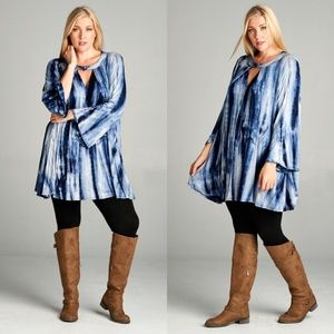 Dresses & Skirts - PLUS Bell Sleeve Tie Dye Tunic Dress New Navy Blue