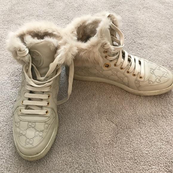 4cbbf3bbde1 Gucci Shoes - Gucci high top fur sneakers