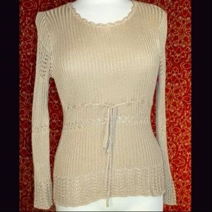 """BETTE PAIGE beige ribbed knit sweater BUST 31"""" S M"""