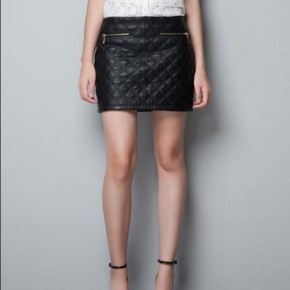 2e7eb52b9f Zara Skirts | Black Quilted Faux Leather Mini Skirt | Poshmark