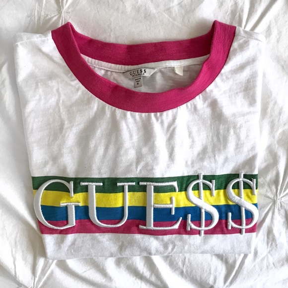 90c4aa80bd8 Guess Tops - ASAP Rocky x GUESS 🔻 Boxy Ringer Crop Tee (Pink)