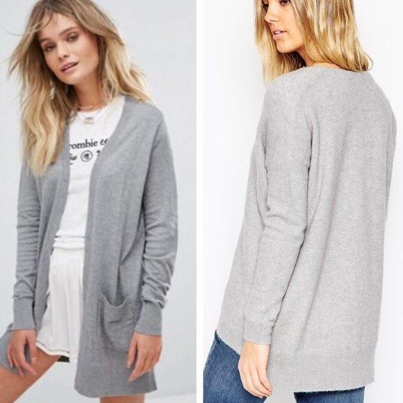 Asos - ASOS • Long grey open cardigan sweater from • c a r l y's ...