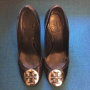 Shoes - Authentic Tory Burch Reva Patent Black Wedges