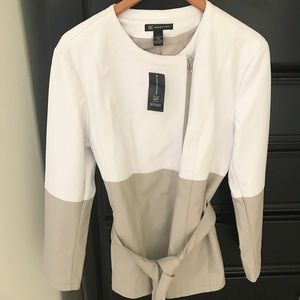 Inc brand white and beige jacket with tie belt.