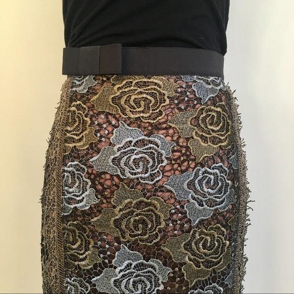b8f9535cda Anthropologie Skirts   Byronlars Metallic Lace Pencil Skirt   Poshmark