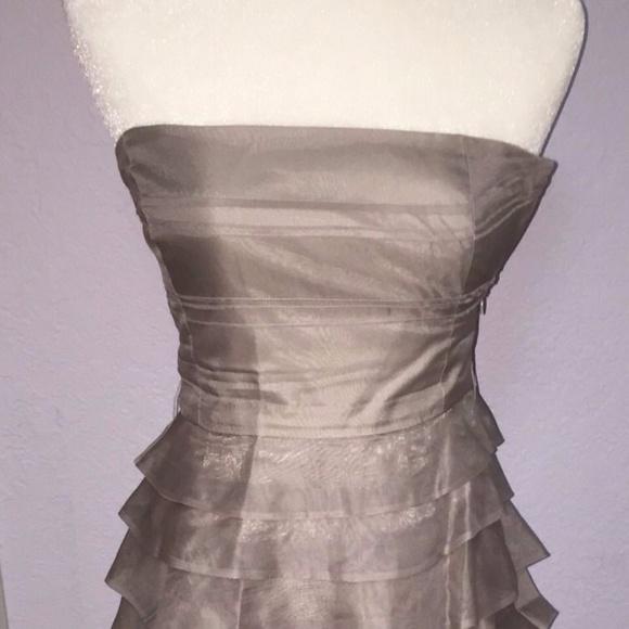 b38ed8e7 Zara Dresses   Formalsolidgrayrufflestrapless100silk   Poshmark