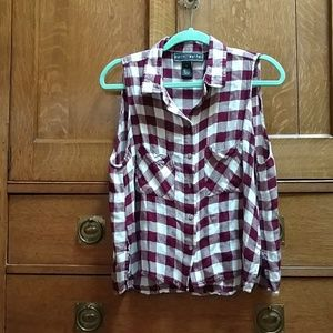 Polly and Esther sleeveless flannel shirt.