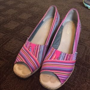 TOMS Wedges in Pink Multi-color Striped