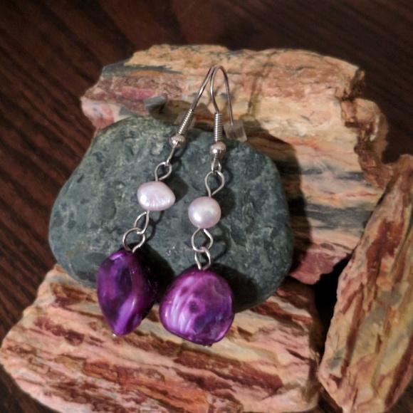 e383ccb46bca0 Pearl & Purple Stone Drop Fashion Earrings