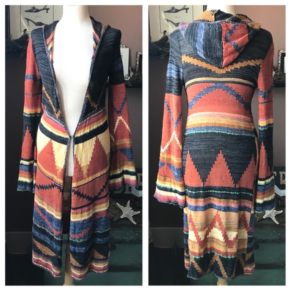 eeb07484e5c49 Free People Sweaters - Free People Lima Cardigan Aztec Hooded Duster M