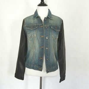 Jackets & Blazers - Denim and Vegan Leather Jacket