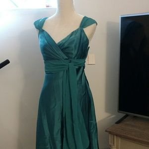 Davids Bridal Dress High Low Jade Teal Size 6 NWT
