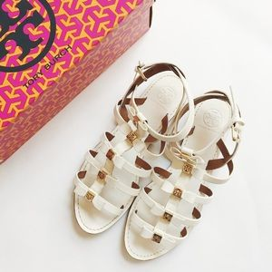 • tory burch • kira white leather bow flat sandals