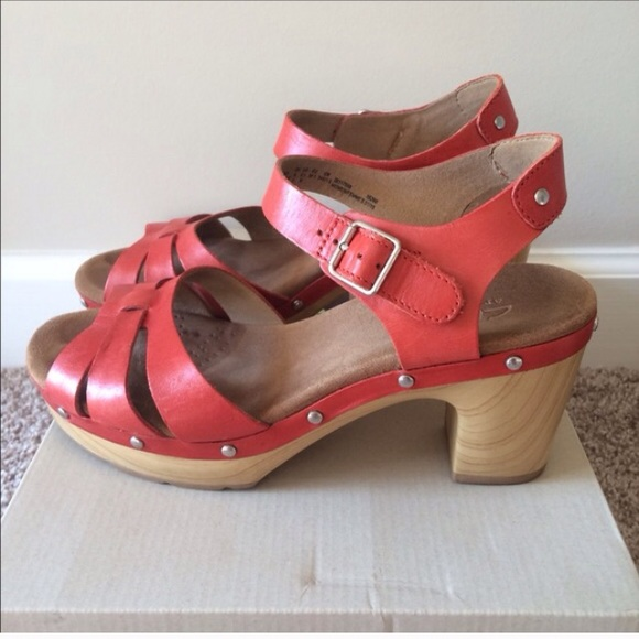 a17961188bf2 Clarks Shoes - Clarks Red Wooden Heels Ledella Trail Shoes
