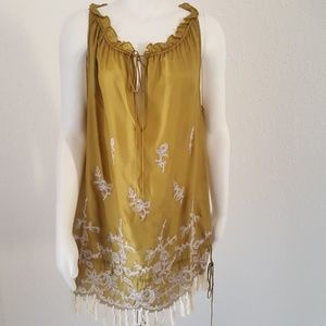 David Meister Silk Gatsby Tunic Dress Top Large L