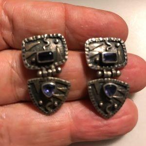 Jewelry - Vintage Artisan Sterling Hinged Earrings w Iolite