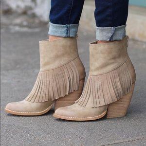 Cream Boho Chic Fringe Demi Wedge Ankle Booties