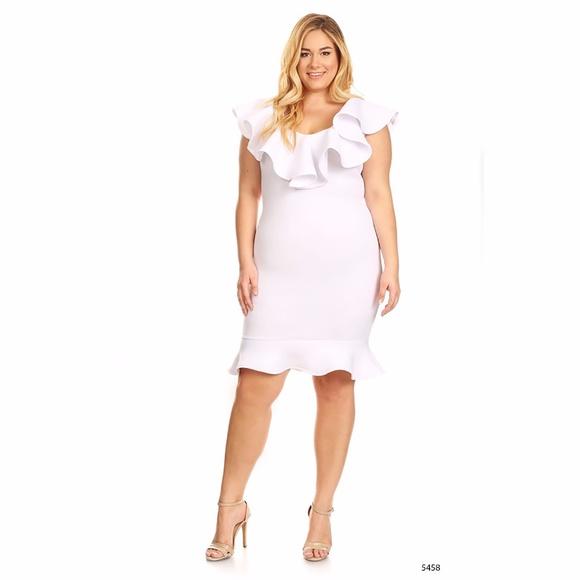 Sexy Diva Dresses Plus Size White Bodycon Midi Ruffle Dress Poshmark