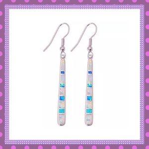🌸SS White & Blue Fire Opal Dangle Earrings🌸