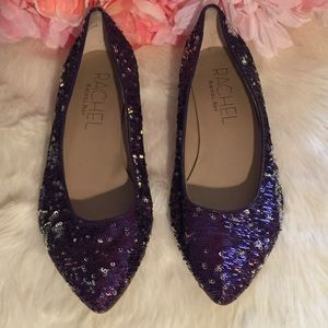 Rachel Roy Sequin Flats Darby Pointy Toe Purple