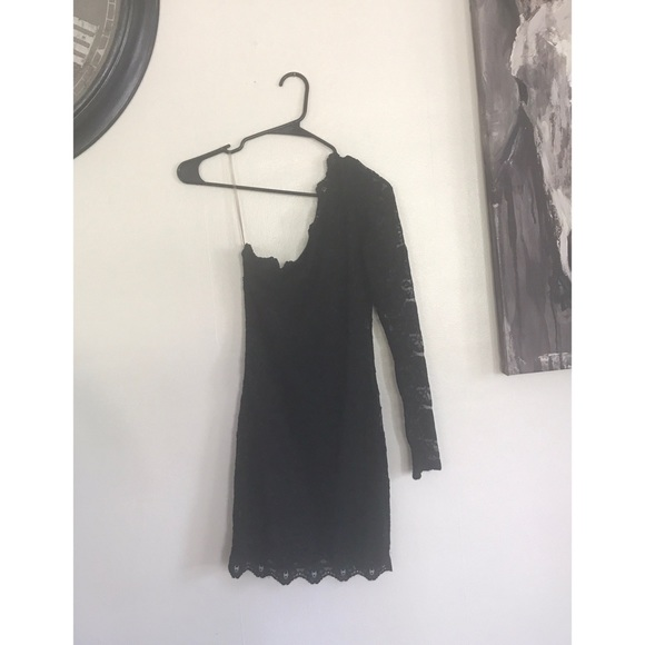 Dresses Black Lace One Shoulder Long Sleeve Bodycon Dress Poshmark