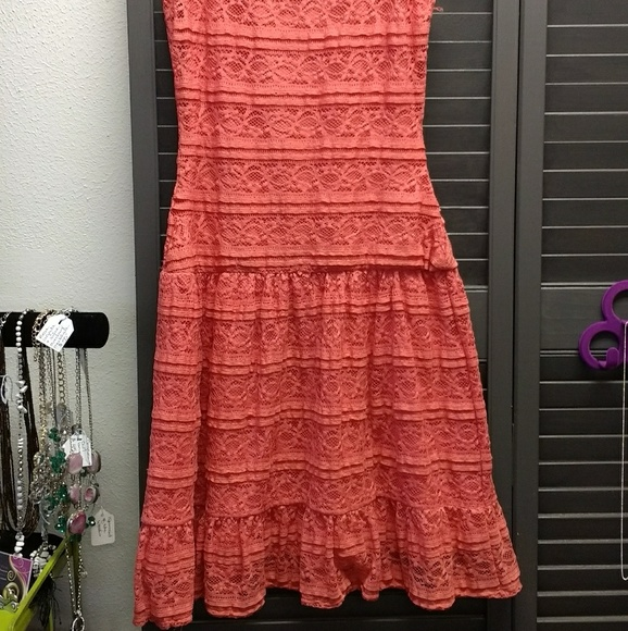 Pinky Dresses & Skirts - Pretty Lace Dress Coral Melon Orange Pinky Color
