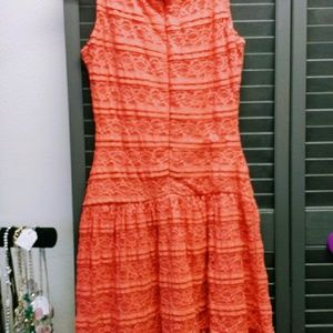 Pretty Lace Dress Coral Melon Orange Pinky Color